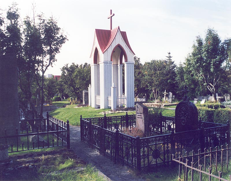 Bell tower in the cemetery by Suðurgata Street